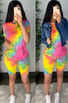 Rose Red Casual Cotton Tie Dye Short Sleeve Round Neck Tee Top Shorts Sets CM759