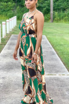 Green Casual Polyester Sleeveless Spaghetti Strap Open Back Ruffle Slip Dress BBN006