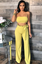 Yellow Sollid Color Bandeau Top & Mid-rised Sherred Waist Wide Leg Pants BN9808