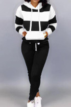 Black Casual Polyester Striped Long Sleeve Waist Tie Hoodie Long Pants Sets OMY5172