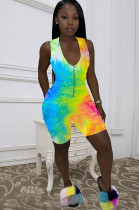 Blue Yellow Casual Polyester Tie Dye Sleeveless Tank Jumpsuit Q551