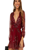 Wine red mesh sleeve plunging neck shirt dress with embroidery detail QZ4097