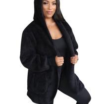 Black Cardigan Winter Long Sleeve Velvet Coat With Pocket A8509