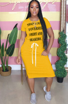 Yellow Front Slogan Print Self-tied Loose Shirt Dress YT3211