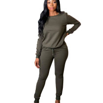 Army Green New Arrival Casual Printed Splicing Two Pieces Comfy Sets TRS997