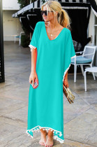 Mint Green Low Neck Embroidered Hem Long Dress JLX8927