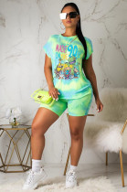 Green Casual Cartoon Graphic Short Sleeve Round Neck Tee Top Shorts Sets SY8531