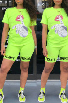 Fluorescent Green Casual Polyester Letter Short Sleeve Round Neck Tee Top Shorts Sets OX8061