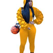 Yellow Ruffle Sleeve Hoodie Slinky Pants Winter Solid Color Female Sets W8256