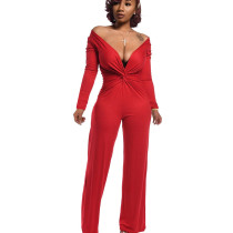 Red Plunging Neck Long Sleeve Wrap Knotted Jumpsuit ED8164