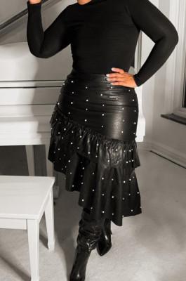 Black Pu Leather Flounce Beaded Ruffle Midi Skirt OMY5071