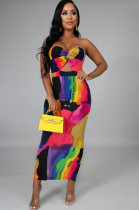 Colorful Front Hollow-out Twist Off Shoulder Long Dress GL6237