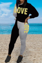 Black Casual Polyester Letter Long Sleeve Round Neck Spliced Tee Top Long Pants Sets BBN033