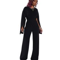 Black Women's Loose Split Sleeves Tops Wide Leg Pants Sets HM5278
