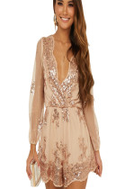 Apricot mesh sleeve plunging neck shirt dress with embroidery detail QZ4097