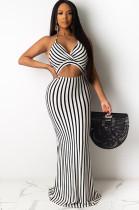 Black Stripes Halter Front Hollow-out Long Dress AL084