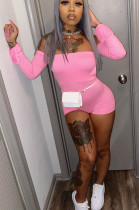 Pink Sexy Polyester Long Sleeve Backless Back Tied Bodycon Jumpsuit YT3229