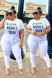 White Casual Polyester Letter Short Sleeve Round Neck Tee Top TZ1093