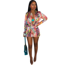 Sexy Flower Print Two Pieces Sets H1082