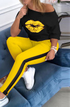 Yellow Sporty Mouth Graphic Half Sleeve Round Neck Off Shoulder Tee Top Long Pants Sets AL099