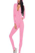 Pink & White Stripes V Neck Hoodie Jumpsuit Q416