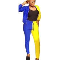 Women Leisure Long Style Contrast Color Two-Piece Suits S686