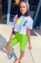 Fluorescent Green Casual Polyester Letter Short Sleeve Round Neck Tee Top Capris Pants Sets FM6077