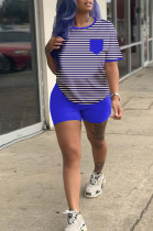 Blue Casual Polyester Striped Short Sleeve Round Neck Tee Top Shorts Sets HM5313