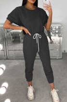 Black Casual Polyester Short Sleeve Round Neck Tee Top Pants Sets AMM8236