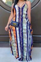 Multi Casual Polyester Sleeveless V Neck Flat Pocket Slip Dress SMR9662