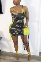 Colored Trim Side Knotted Camo Tank Dress DN8385