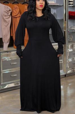 Black Casual Polyester Long Sleeve Round Neck High Waist A Line Dress AL115