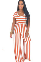 Two Tones Round Neck Orange Stripes Jumpsuit E8395-2