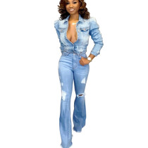 Leisure Ripped Light Blue Jeans AcidWashes High Waist Flares Pants SMR2118