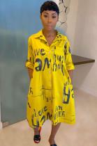 Yellow Letter Print V Neck Skirt Dress TZ10872