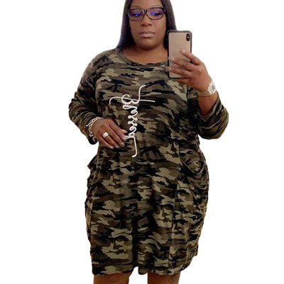 Plus Size Women Pockets Camouflage Round Collar Midi Dress QQ5149