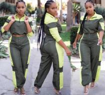 Colorblock Zipper Outfits Sports Suits LA3056