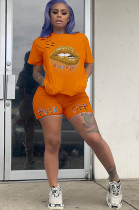 Orange Solid Color Mouth Graphic Print & Short Pants Set HY5141