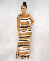 Orange Color Panel Split Side Cami Long Dress BS1177