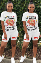 Solid Color Front Mouth Graphic & Slogan Print Shirt Top & Shorts Sets