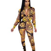 Black Mature Women Floral Leopard Print Two Pieces Long Suits SDD9202