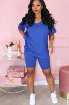 Blue Solid Color V Neck Short Sets