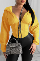 Yellow Solid Color Loose Sleeve Drawstring Waist Hoodie Top HY5125