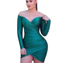 Green Draped Off Shoulder Long Sleeve Bodycon Club Mini Dress W8258