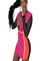 Sexy pink plunging neck contrast color mini dressQ420