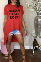 Red Casual Polyester Letter Short Sleeve Round Neck Tee Top YYZ506