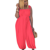 Yellow Strappy Off Shoulder Solid Wide Leg Loose Jumpsuits D8271