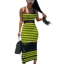 Green Striped Mesh Tank Ankle Bodycon Dress ED8093