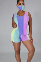 Purple Pink Purple Casual Sporty Polyester Striped Sleeveless Round Neck Knotted Strap Tank Top Shorts Sets LA3204