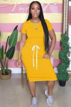 Yellow Casual Short Sleeve Round Neck Split Hem Drawstring Waist Shift Dress AL092